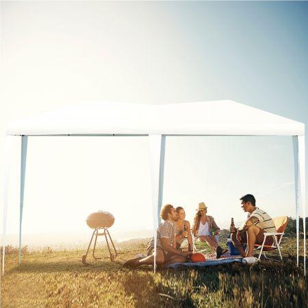 Costway Tente de Réception Tente Pavilion Pliable Chapiteau Imperméable 3x6 m avec Grand Espace pour Activité Mariage Blanc