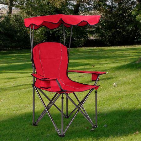 Costway Chaise de Camping Pliante en PVC Rembourré Capacité 120 KG avec Cadre en Acier de Haute Qualité Rouge
