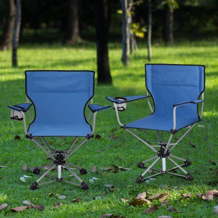 Costway Chaise de Camping Pliante Pivotante Charge 136KG avec Accoudoirs Porte-gobelets Sac de Transport