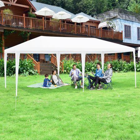 Costway Tente de Réception Chapiteau 3x6M avec 4 Parois Amovibles Sac de Transport et Fenêtre sur Côté pour Fête/Mariage/BBQ Blanc