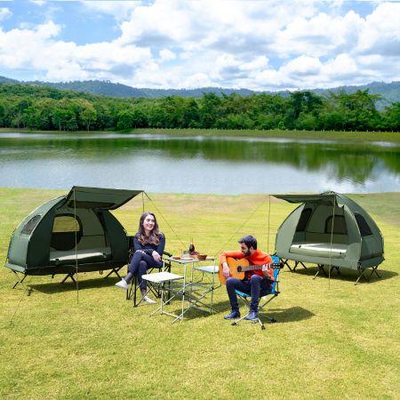 Costway Tente de Camping Surélevée 1 Personnes Imperméable avec Matelas Pneumatique, Oreiller et Sac de Couchage