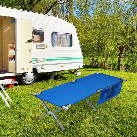 Costway Lit de Camp Pliant Poches Latérales et Sac de Transport Charge Max 130KG 190x73x42CM Bleu