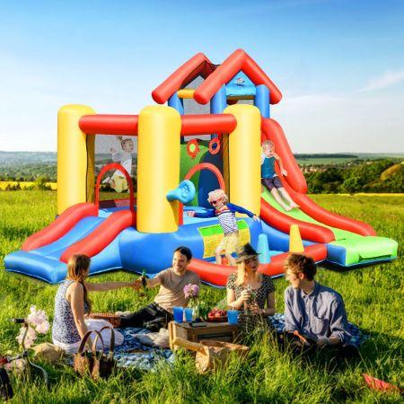 Costway Château Gonflable 7 en 1 avec Toboggan pour 5 Enfants de 3 à 10 ans Charge Max 135KG
