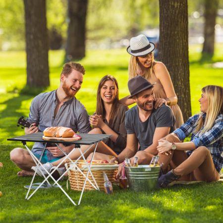 Costway Table de Camping Pliable en Aluminium Charge Max 25 KG Table de Jardin 56 x 41 x 41 CM