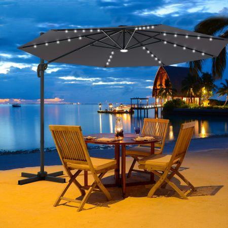 Costway Parasol Déporté 3M avec 35 LED Panneau Solaire Rotation à 360° en Aluminium Base Croisée et Housse de Protection pour Jardin Gris
