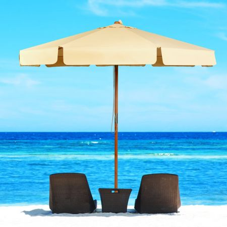 Costway Parasol Inclinable Ø300CM avec Manivelle Anti-UV Protection Solaire Toile Polyester Imperméable Beige
