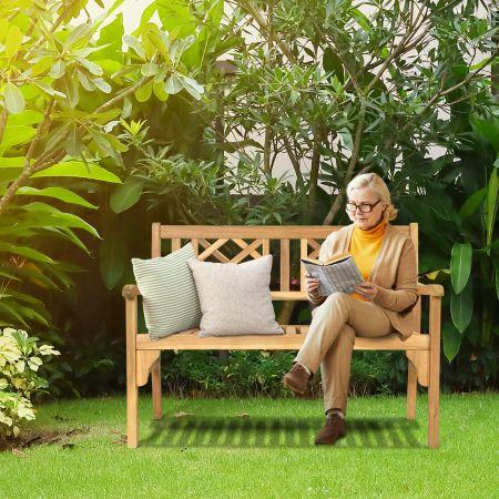 Costway Banc de Jardin en Teck Pliable Bois 120x56x90 cm à 2 Places Dossier Incurvé et Accoudoirs pour Terrasse Balcon ou Jardin