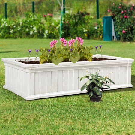 Costway Jardinière en Plastique Bac à Plantes Rectangulaire pour Légumes et Fleurs 122 x 60 x 30 cm Blanc