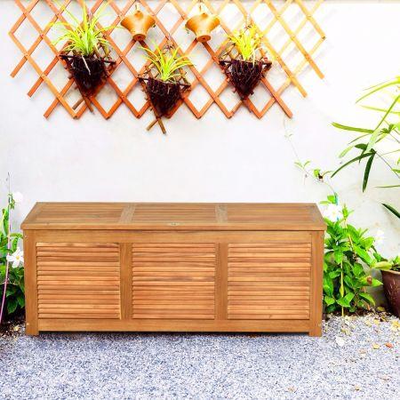 Costway Malle en Bois d'Acacia Coffre Boîte de Rangement 120 x 45 x 45 cm Charge Max 150KG pour Terrasse Jardin ou Cour Nature