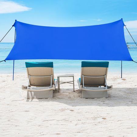 Costway Auvent de Plage Grand Tente de Plage 300 x 280 CM 6 Personnes Portable avec Sac de Transport UPF 50+ Bleu