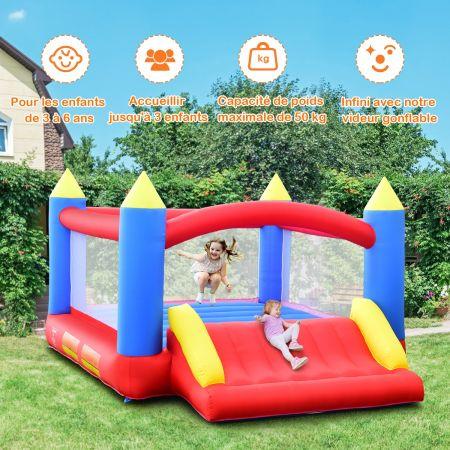 Costway Château Gonflable pour 3 Enfants avec Toboggan Kit de Réparation Piquetn Charge 50KG Souffleur Non-Inclus