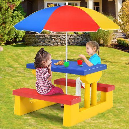 Costway Ensemble de Jardin pour Enfant Ensemble Table et Banc Enfant en PP avec Parasol Multicolore