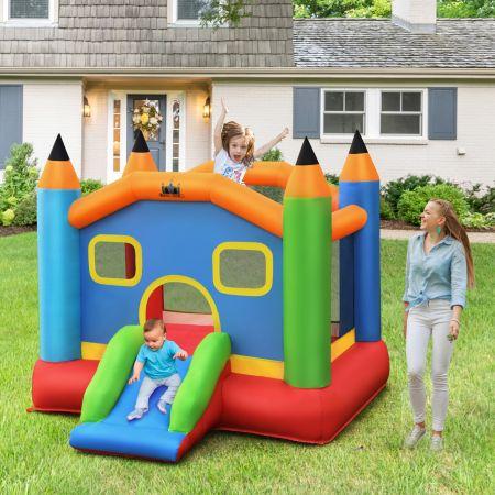 Costway Château Gonflable pour 3 Enfants avec Toboggan Charge 90KG Souffleur Non-Inclus