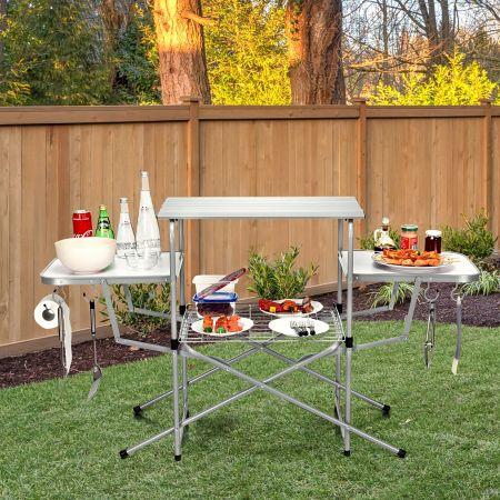 Costway Table Pliante de Camping avec 2 Tablettes Latérales et Étagère de Grille pour Barbecue Pique-nique 146x45x82CM