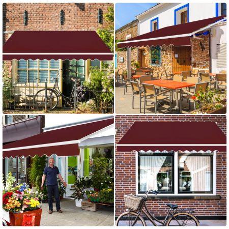 Costway Store Banne de Balcon Rétractable 3,6x3M Tissu Résistant aux UV et à l'Eau Angle Réglable 5-35° Vin rouge