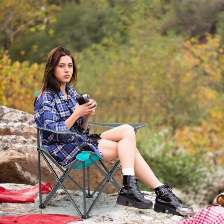 Costway Chaise de Camping Pliable avec Pare-Soleil Porte-Gobelet et Sac de Transport pour Extérieur 90 x 72 x 150 cm Turquoise