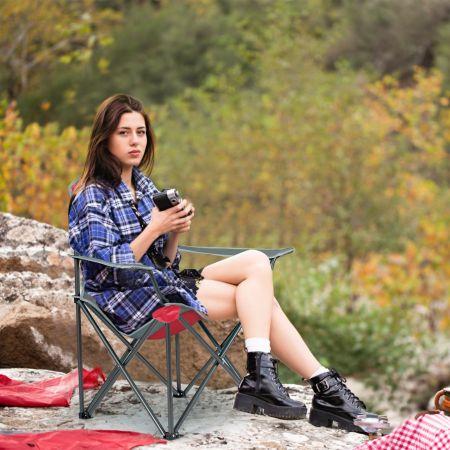 Costway Chaise de Camping Pliable avec Pare-Soleil Porte-Gobelet et Sac de Transport pour Extérieur 90 x 72 x 150 cm Rouge