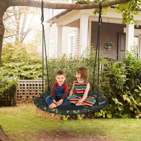 Costway Balançoire Nid d'Oiseau Ronde Ø100CM pour Enfant Hauteur Réglable 100-160CM Charge 150 KG Vert camouflage