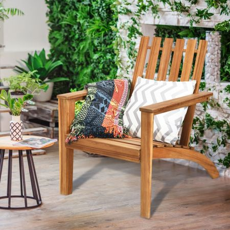 Costway Chaise Extérieur en Bois d'Acacia Design Adirondack Résistant aux Intempéries Charge 160 Kg Salon Terrasse Balcon Naturel