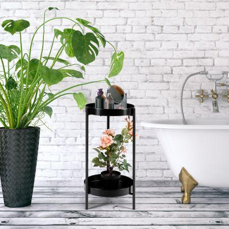 Costway Colonne à Plantes en Métal Supports de Pots de Fleurs avec 2 Tablettes Amovibles pour Pot de 20-30 CM Charge 15 KG pour Maison Jardin Noir