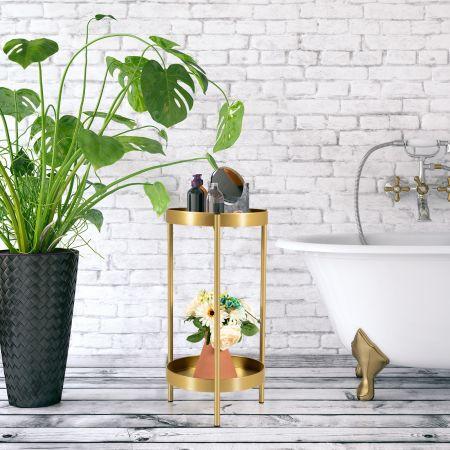 Costway Colonne à Plantes en Métal Supports de Pots de Fleurs avec 2 Tablettes Amovibles pour Pot de 20-30 CM Charge 15 KG pour Maison Jardin Or