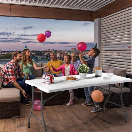 Table de Camping Pliable Buffet Table Pliante Portable Table Jardin Blanche 182cm 150cm 122cm-M