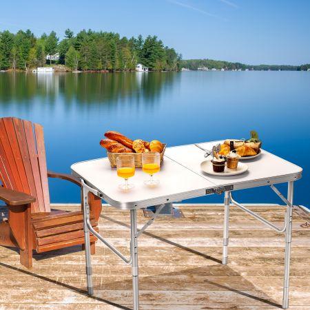 Costway Table de Camping Pliable en Aluminium avec Poignée de Transport Table d'Extérieur Réglable en Hauteur à 3 Positions
