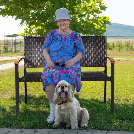 Costway Banc de Jardin pour 2 Personnes en Poly Rotin PVC avec Accoudoir Idéal pour Jardin Terrasse 115 x 87,5 x 60 cm Brun