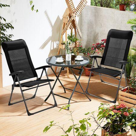 Costway Lot de 2 Chaises de Jardin Pliantes Dossier Haut 7 Positions Réglables en Tissu Respirant 72 x 62 x 67-116 CM