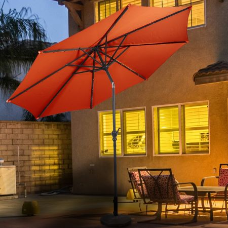Costway Parasol Inclinable Diamètre 3 m en Acier Couleur Vin Patio Terrasse Balcon Jardin Orange