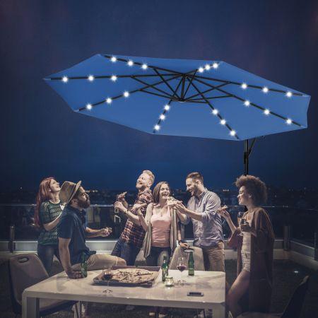 Costway 3M Parasol Déporté Excentré avec 24 LED Lampe Solaire Fait en Polyester Inperméable Hauteur 245CM 8 Baleines en Fer Bleu