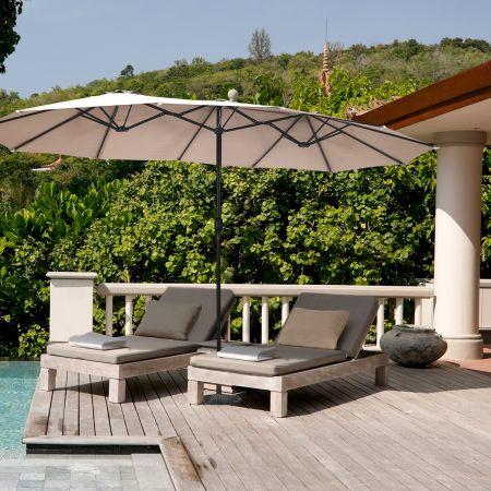 Costway Parasol de Jardin Extérieur Double 460x270CM Poteau Φ48MM avec Manivelle Acier Toile de Polyester pour Balcon/Jardin Beige