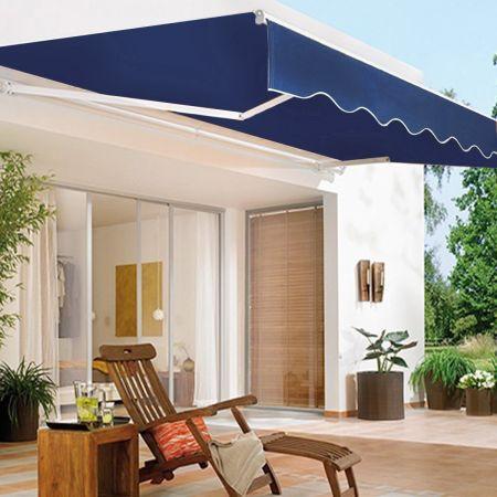 Costway Store Banne Rétractable 2,5 X 2M Tissu Résistant aux UV Cadre en Aluminium Bleu