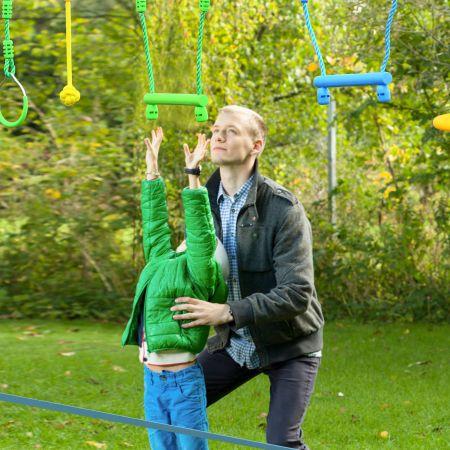 Costway 15M Barre de Balançoire Enfants Jeu Parcours Ninja Double Slackline Obstacles Suspendus Charge 100KG pour Jardin Extérieur