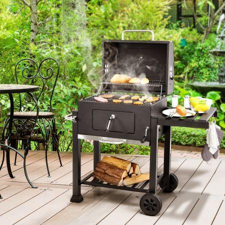 Costway Barbecue à Charbon Mobile avec Tablette Latérale et 2 Roues Grille de Maintien au Chaud et de Cuisson pour Pique-nique Fêtes