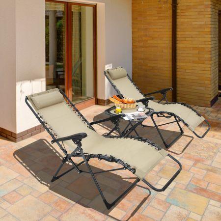 Costway Lot de 2 Chaises Longues Inclinables en Textilène avec Table avec Oreillers Amovibles et Porte-Gobelet Charge Max 140KG Beige