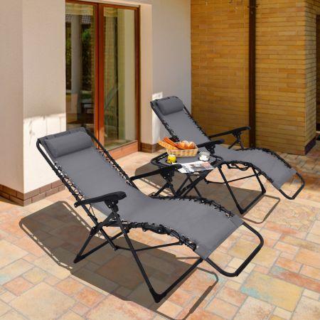 Costway Lot de 2 Chaises Longues Inclinables en Textilène avec Table avec Oreillers Amovibles et Porte-Gobelet Charge Max 140KG