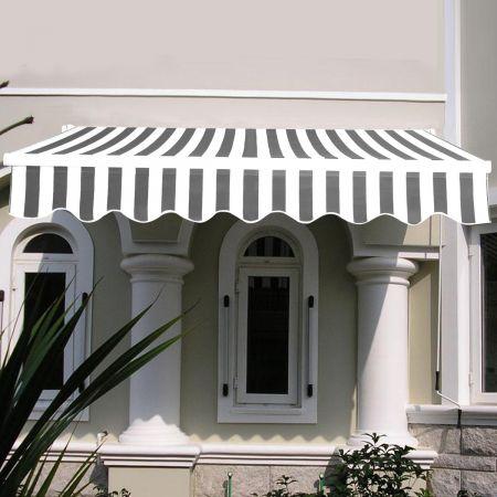 Costway Store Banne Rétractable 3 X 2,5M avec Tissu Résistant aux UV et à l'Eau Cadre en Aluminium pour Terrasse Balcon Noir Blanc