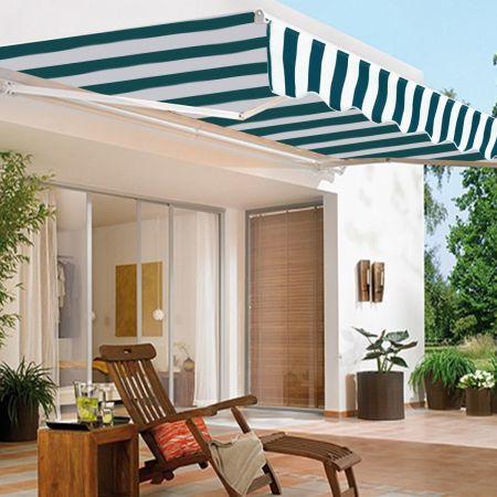 Costway Store Banne Rétractable 3 X 2,5M avec Tissu Résistant aux UV et à l'Eau Cadre en Aluminium pour Terrasse Balcon Vert Blanc