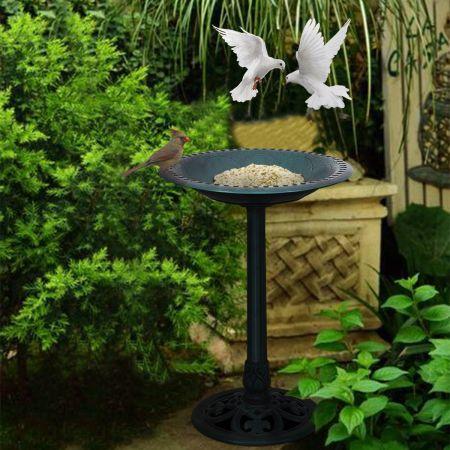 Costway Mangeoire à Oiseaux sur Pied Bain pour Attire Oiseaux avec Une Plateau 51x72cm Vert