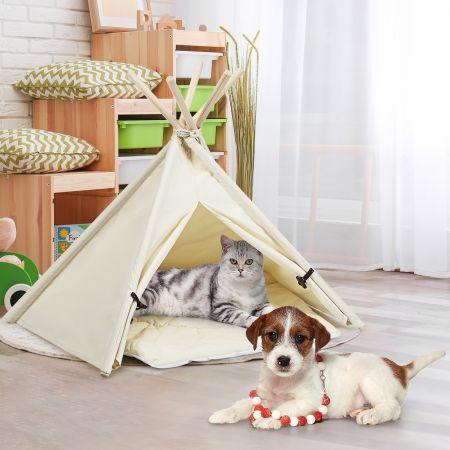 Costway Tipi Tente pour Animaux Domestiques avec Coussin 84cm Amovible et Lavable