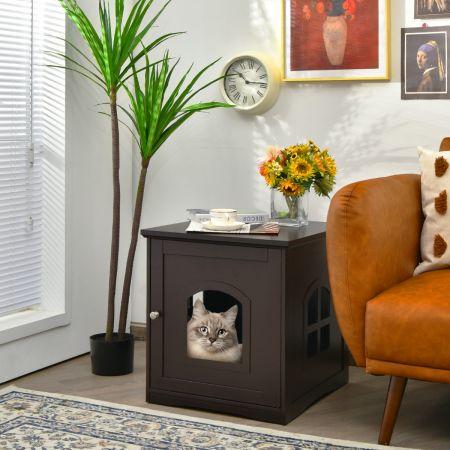 Costway Maison de Toilette pour Chat Enceinte de Litière pour Chat avec Porte et Fenêtre en Croix 49 x 53 x 53 cm Marron