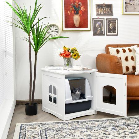 Costway Maison de Toilette pour Chat Enceinte de Litière pour Chat avec Porte et Fenêtre en Croix 49 x 53 x 53 cm Blanc