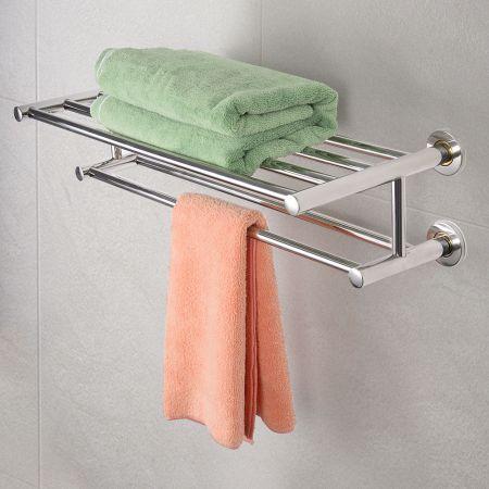 Acier inoxydable Double salle de bain mural porte-serviettes titulaire étagère racks de stockage pratique