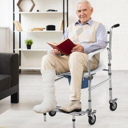 Costway Chaise Percée à Roulettes Seau Amovible Repose-pieds Pliable Charge 100KG pour Handicapés Personnes Agés