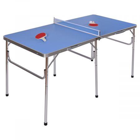 Costway Mini Table de Ping-pong Pliable Portable avec 2 Raquettes et 2 Balle 152, 4 x 76, 2 x 76, 2 cm Bleu