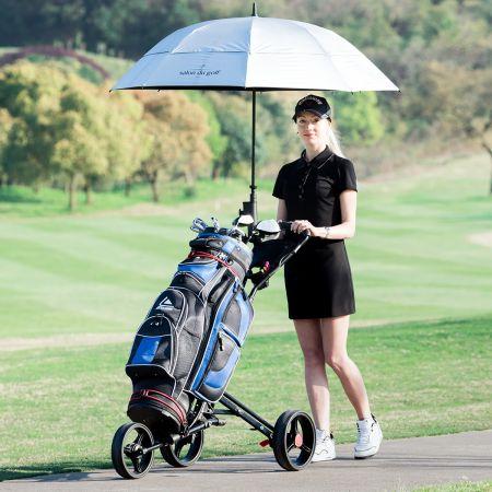 Costway Chariot de Golf 3 Roues Pliable Noir avec Porte-Parapluie et Porte-Tee en Aluminium Frein au Pied et Poignée Rembourrée