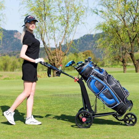 Costway Chariot de Golf à 3 Roues Pliable avec Poignée Réglable Carte de Pointage Porte-parapluie et Porte-tee Sac en Maille Noir