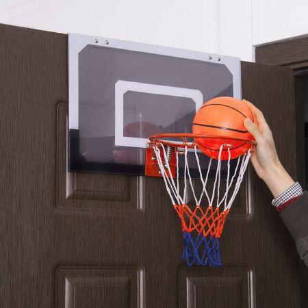Costway Mini Panier de Basket 46 x 30,5CM Accroche Murale ou Sur Porte avec Ballon pour Enfant Activité Domicile