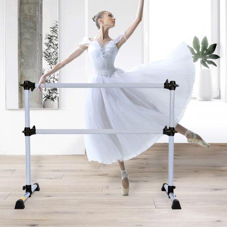 Costway Barre de Danse Classique Ballet Barre de Danse Double Mobile Hauteur Réglable 120x118x71cm